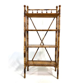 Antique Victorian Scorched Bamboo Bookcase / Etagere Preview
