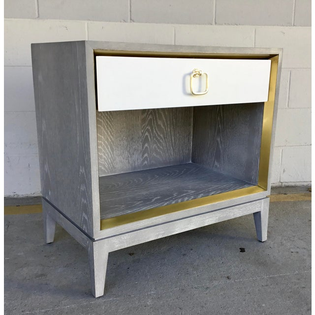 White Bungalow 5 Modern Cerused Gray Finished One Drawer Side Table For Sale - Image 8 of 8