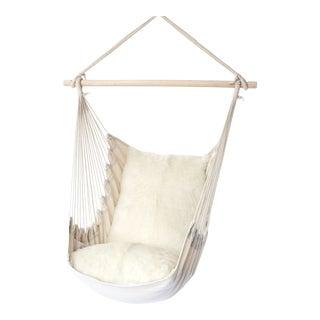 Hanging Chair With Sheepskin Cushions by Tasha Tarno For Sale