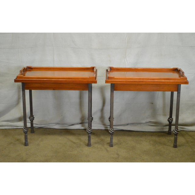Custom Pair of Iron Base Tray Top Side Tables - Image 6 of 11