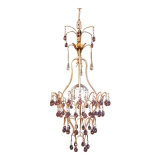 Fine Purple Beaded Murano Crystal Chandelier Antique Ceiling Lamp Lustre For Sale
