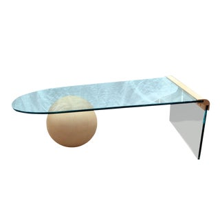 1960s Minimalist Waterfall Glass Coffee Table With Beige Faux Stone Ball Base For Sale