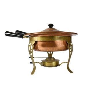 Vintage Copper Brass Fondue Chafing Pot Dish Serving Set For Sale