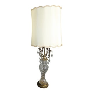 Vintage French Provincial Crystal Table Lamp W White Lampshade For Sale