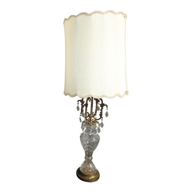 Vintage french provincial crystal table lamp w white lampshade vintage french provincial crystal table lamp w white lampshade aloadofball Image collections