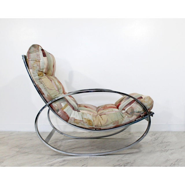 White Mid Century Renato Zevi Chrome Elliptical Rocking Chair For Sale - Image 8 of 10