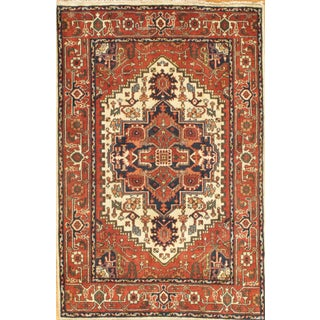 Pasargad Indian Hand-Knotted Serapi Rug - 4′ × 6′ For Sale