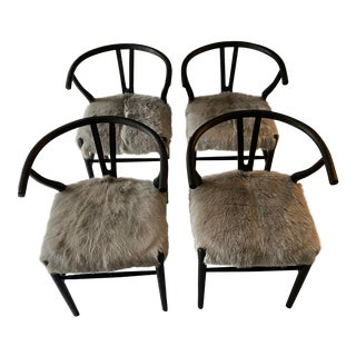 Fur-Covered Hans Wegner Style Wishbone Chair - Set of 4 For Sale