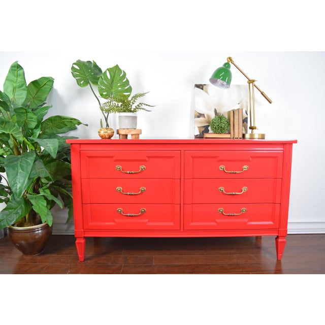 Red 19th Century Thomasville Positive Red High Gloss Lacquer Dresser For Sale - Image 8 of 13