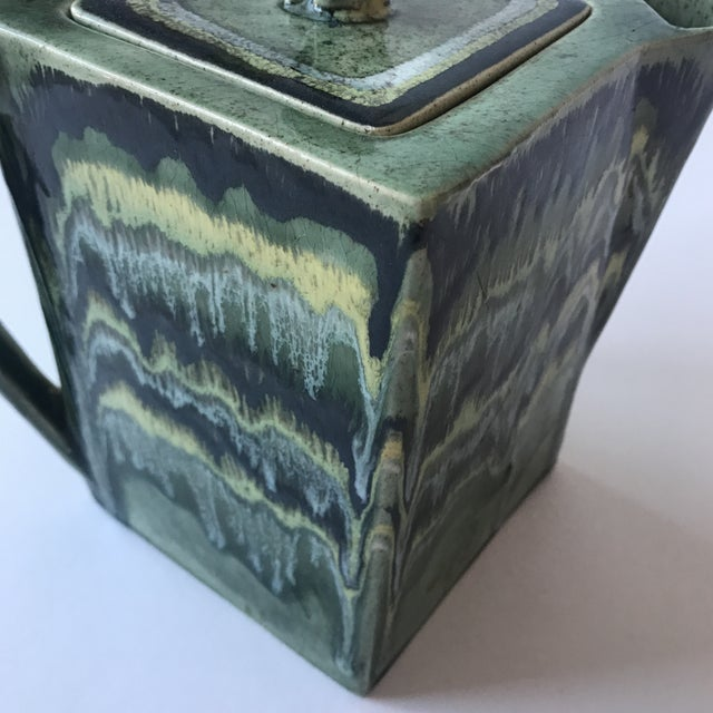 California Green Ceramic Drip Glaze Pitcher For Sale In San Francisco - Image 6 of 11