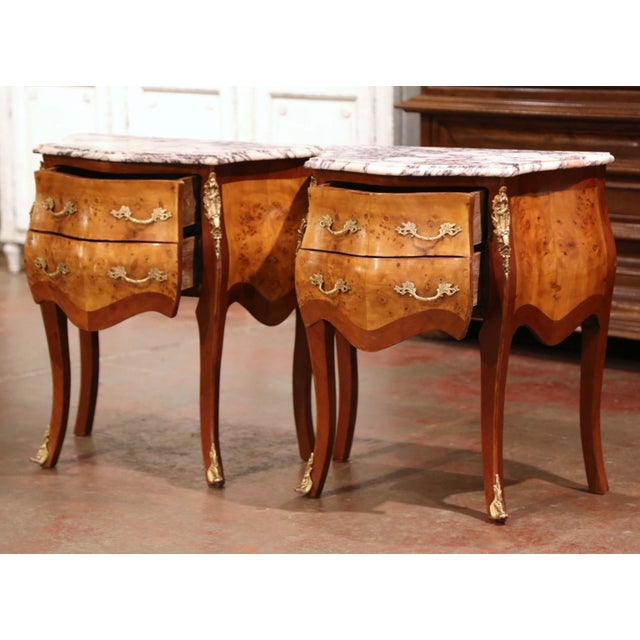 Metal Vintage Louis XV Burl Walnut Bombe Nightstands Chests With Marble Top - a Pair For Sale - Image 7 of 11