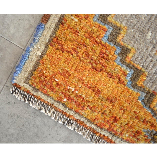 Boho Chic Distressed Low Pile Oushak Yastik Rug Faded Colors Vintage Petite Rug - 21'' X 42'' For Sale - Image 3 of 5