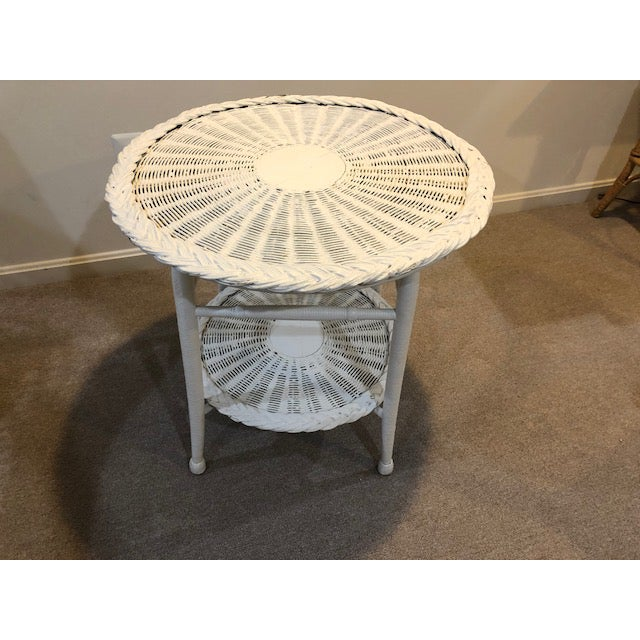 Vintage Wicker Two Tier Table For Sale In Washington DC - Image 6 of 6