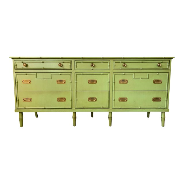 Vintage Ficks Reed Faux Bamboo Dresser For Sale
