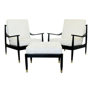 Mid Century Modern Wythe Craft Pair Armchairs & Ottoman 1950s Danish Style For Sale