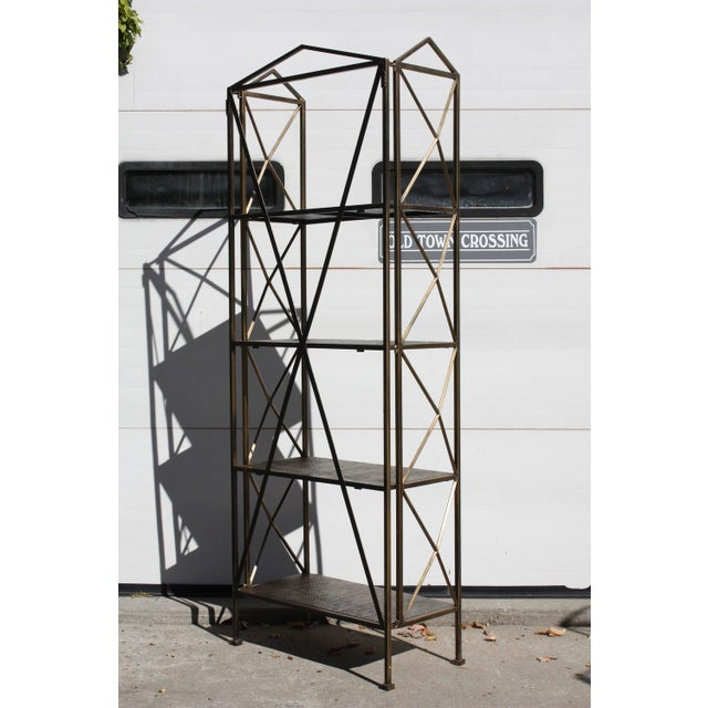 1990s Italian Wireframe Triptych Etagere Shelf - Image 8 of 10