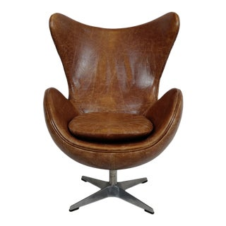 Chestnut Leather Egg Chair For Sale