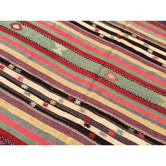 Green Vintage Striped Turkish Kilim Rug For Sale - Image 8 of 11