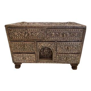 Indian Silvered Filigree Box With Many Drawers For Sale