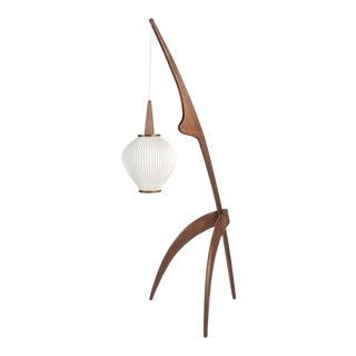 "Jean Rispal ""Praying Mantis"" Floor Lamp in Walnut For Sale"