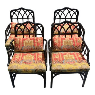 Chinese Chippendale Ebony Rattan Dragon Empress Fabric Arm Chairs - Set of 4 For Sale