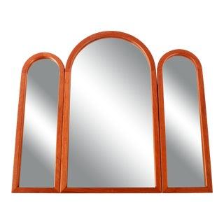Mid 20th Century Vintage Danish Modern Pedersen & Hansen Teak Tri-Fold Wall Vanity Mirror For Sale