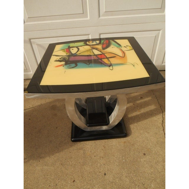 Artist Inspired Aluminum and Acrylic End Table - Image 4 of 5