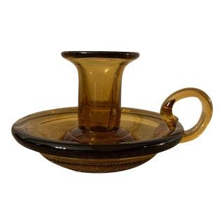 Vintage Amber Glass Candle Holder For Sale