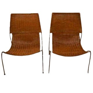 Frederick Weinberg Iron & Wicker Sling Chairs - A Pair