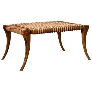 T.H. Robsjohn-Gibbings Style Walnut Mid-Century Modern Bench