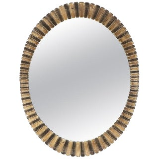 Scalloped Edge Oval Mid-Century Modern Mirror For Sale