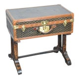 Image of 19th Century French Goyard Suitcase on Wooden Saw Horse Stand For Sale