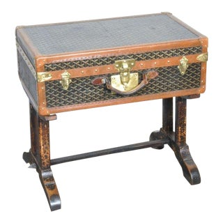 19th Century French Goyard Suitcase on Wooden Saw Horse Stand For Sale