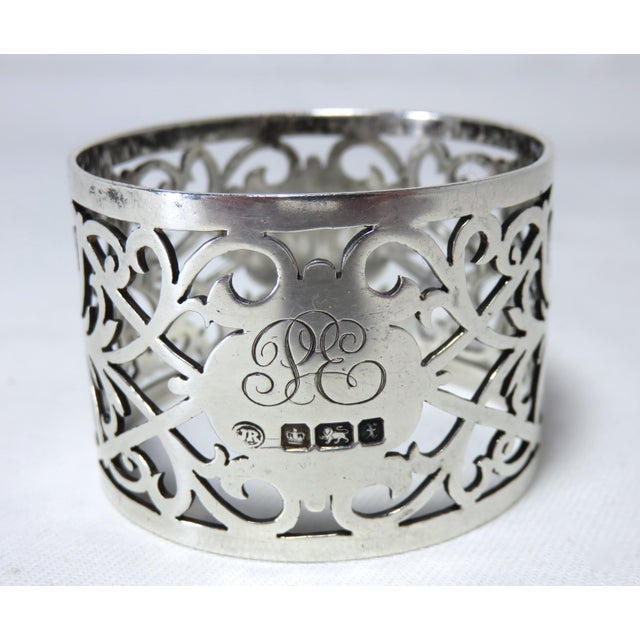 Engraving Early 20th Century Antique John Round Sterling Silver Napkin Ring For Sale - Image 7 of 7