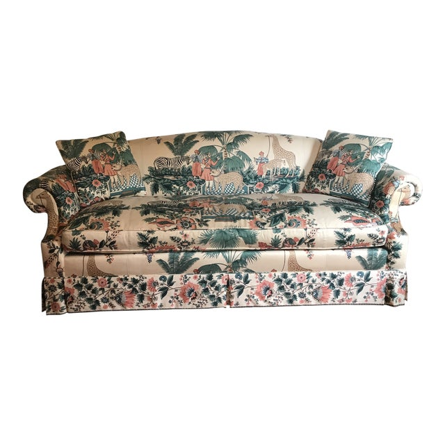 1980s Vintage Pearson British West Indies Jungle Print Sofa For Sale