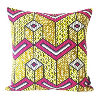 African Lubumbashi Wax Print Square Pillow Cover