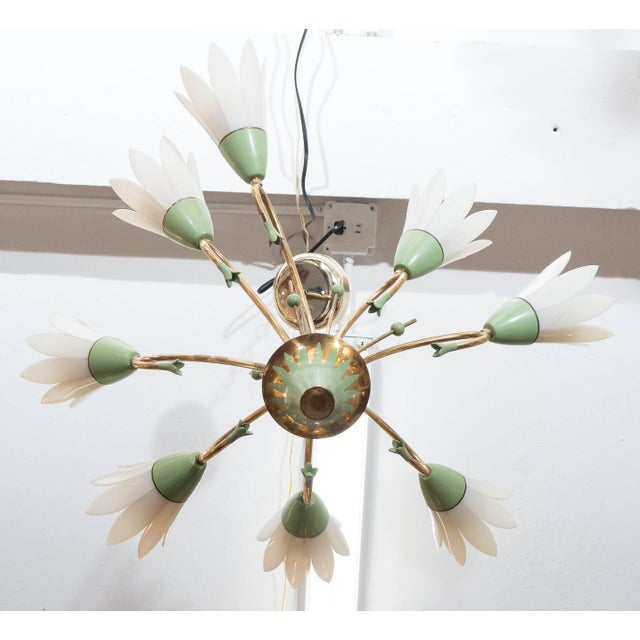 Metal 1960s Floral Eight-Light Chandelier For Sale - Image 7 of 8