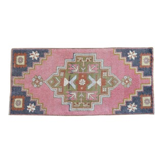 """Front of Bath Sink Rug Hand Made Kitchen Mat Faded Mini Rugs 1'7"""" X 3'5"""" For Sale"""