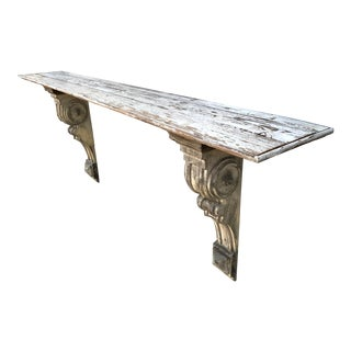 Salvaged Wood Wall-Mounted Corbel Shelf/Console