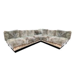 Custom Sheepskin and Velvet Sectional Sofa For Sale