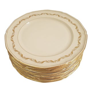 Royal Tettau Cream With Gold Accents Dinner Plates - Set of 10 For Sale