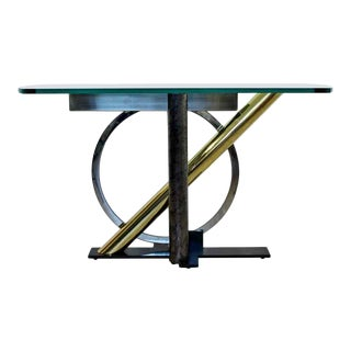 Contemporary Modern Geometric Mixed Metals Glass Console Table Kaizo Oto Dia 1980s For Sale