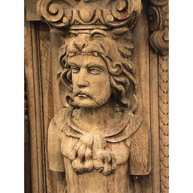 19th Century Monumental French Renaissance Figural Carved Oak Bookcase For Sale - Image 4 of 12