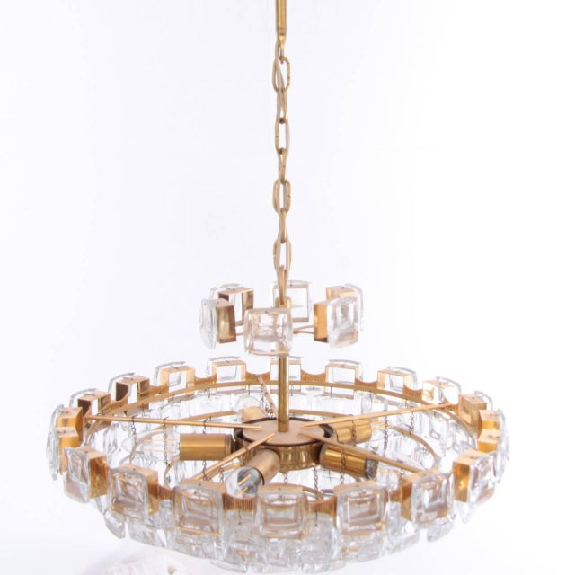 Brass Glamorous Palwa Gilded Brass and Glass Jewel Chandelier For Sale - Image 7 of 8