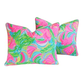 "Fun & Colorful Tropical Monkeys & Elephants Feather/Down Pillows 22"" X 18"" - Pair For Sale"