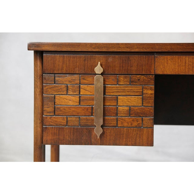 Walnut Desk With Graphic Wood Work and Brass Hardware, 1970s For Sale - Image 10 of 12