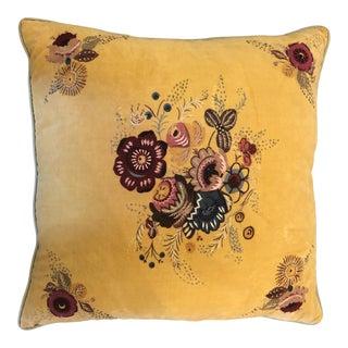 """Boho Chic Anthropologie Velvet and Beaded Pillow - 20"""" For Sale"""
