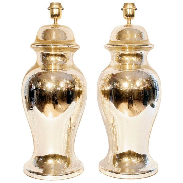 Art Deco Gold Mirrored Table Lamps - A Pair For Sale - Image 3 of 3
