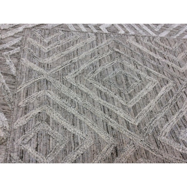 Gray Diamond Pattern Wool Rug - 9' X 12' For Sale - Image 4 of 6