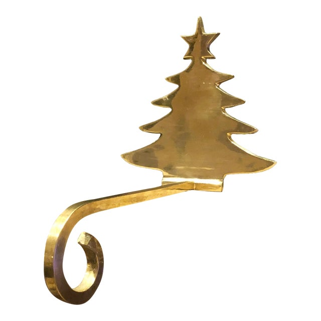 Vintage Brass Stocking Hanger Christmas Hook Holiday Tree For Sale